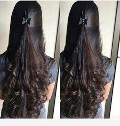 Nice hair idea for long curls Nice hair idea for long curls Indian Hairstyles, Hairstyles Haircuts, Braided Hairstyles, Cool Hairstyles, Hairstyles Videos, Braided Updo, Wedge Hairstyles, Beautiful Long Hair, Gorgeous Hair