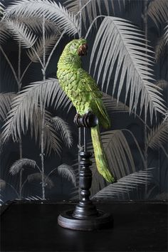 This large green tropical parrot is lovely to display sitting on top of his perch He looks wonderful surrounded by plants and tropical foliage The