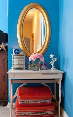 bright blue walls vintage suitcases in decor home interior