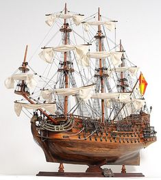 Old Tall Handmade Wooden Ship Craft San Felipe Exclusive Edition Model Boat Scale Model Ships, Scale Models, Model Sailing Ships, Spanish Galleon, Model Ship Building, Boat Building, Wooden Ship, Tall Ships, Brass Fittings