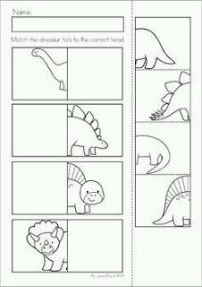 Dinosaur Preschool Math and Literacy No Prep worksheets and activities. A page from the unit: heads and tails match cut and paste Best Picture For Dinosaur room For Your Taste You are looking for some