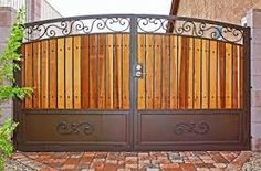Image result for wood and wrought iron gate designs