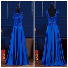 Elegant Royal Blue/Wine Red Scoop Lace Satin Long Dresses For Wedding Party Summer Prom Evening Gowns 2019 Maxi Dresses Vestidos Royal Blue Bridesmaid Dresses, Cocktail Bridesmaid Dresses, Royal Blue Dresses, Long Wedding Dresses, Prom Dresses, Long Dresses, Sexy Dresses, Dress Long, Dress Formal