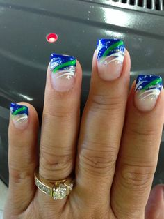 Pinner said: Got my Super Bowl Bound Seattle Seahawks nail redone today! Seahawks Nails, Football Nails, Football Nail Designs, Acrylic Nail Designs, Nail Art Designs, Nails Design, Acrylic Nails, Fingernail Designs, Pedicure Designs