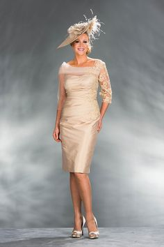 Silver short fitted dress with lace detail 8724 - Catherines of Partick