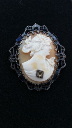 Ostby Barton cameo - sterling silver cameo - sapphire cameo - gemstone cameo - shell cameo - carved cameo - silver cameo - antique jewelry by SteamyAntiquities on Etsy