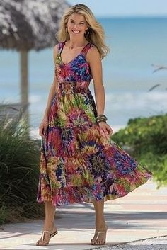 sundresses for women over 50 | upcycled / Pretty sundress for Women Over 50
