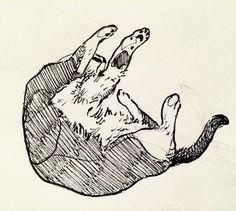 Cat scketch. dibujo gatito tumbado. By Ana Maturana