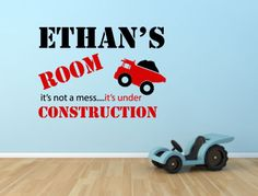 PERSONALISED UNDER CONSTRUCTION BOYS BEDROOM WALL STICKER DECAL MURAL GRAPHIC