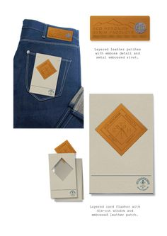 waist patch and pocket Fashion Packaging, Japanese Denim, Denim Branding, Name Cards, Hang Tags, Packaging Design, Identity, Mac, Label