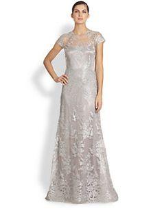 Teri Jon - Metallic Embroidered-Lace Gown