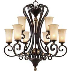 Golden Lighting Portland 9 Light Chandelier - Floor Sample on Clearance GL-3966-9-FB-store