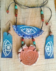 Ceramic and leather jewelry