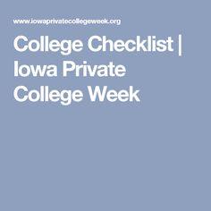 College Checklist | Iowa Private College Week