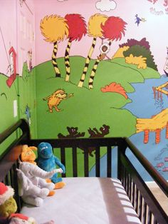 Lorax nursery. A little over done for my personal taste, but I would love Truffla Trees painted on the wall.