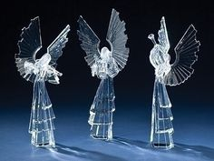 Roman Set of 3 ICY Crystal Christmas Angel Figures with Musical Instruments Wine Supplies, Harp, Violin, Ice Sculptures, Holy Family, Crystal Collection, Collectible Figurines, Christmas Angels, Trumpet