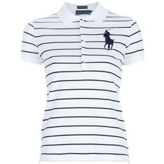 RALPH LAUREN BLUE classic polo ($99) ❤ liked on Polyvore featuring tops, shirts, blusas, polo shirts, short sleeve shirts, button front shirt, logo polo shirts and short tops