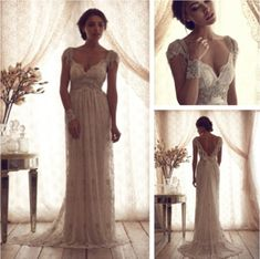 Luxury V Neck Anna Campbell Wedding Dresses Lace Crystal Beaded Bridal Gowns With Sleeves vestidos de novia 2014 $179.99