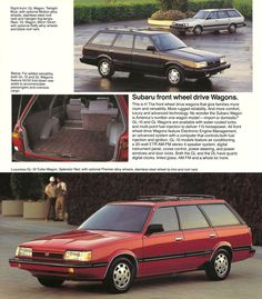 """1987 Subaru Front Wheel Drive Wagons.  The colors themselves suggest a slightly more restrained approach to driving--Twilight Blue and Moon Silver. These front wheel drive Wagons featured """"Electronic Engine Management,"""" which the brochure describes as """"an advanced system with a computer that controls both fuel injection and ignition."""" #Vintage #Subaru #Brochure #advertisement"""