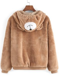 Light Brown Hooded Faux Fur Cute Coat  ,Perfect for Women!