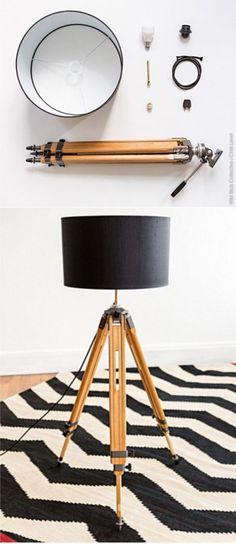 Lámpara de pie con trípode - Vía wildbirdscollective.com y christophelevet.fr
