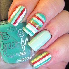 It's all about the polish: Christmas Stripes Nail Art