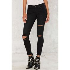 Aline Distressed Skinny Jeans ($68) found on Polyvore featuring women's fashion, jeans, black, cropped jeans, distressing jeans, denim skinny jeans, destructed jeans and ripped skinny jeans