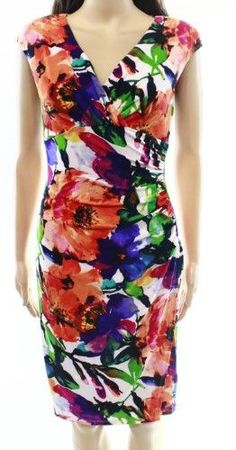 d8e92289cfec Lauren Ralph Lauren Womens Floral Print Ruched Wear to Work Dress