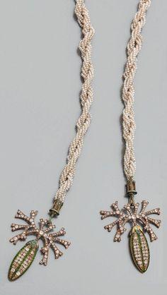 Georges Fouquet, Art Nouveau gold, enamel, pearl, diamond and garnet bayadére necklace, 1904-05, unsigned, length 91cm