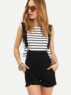 #MakeMeChic - #MAKEMECHIC Raw Hem Black Denim Overall Shorts - AdoreWe.com