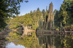 幻想的な円形模様!水の鏡で映し出されたドイツの「悪魔の橋」 Rakotz Bridge