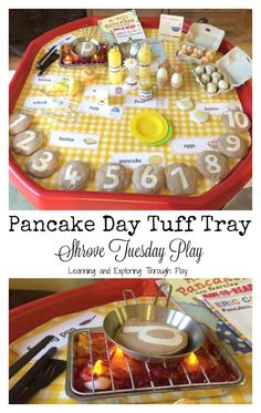 Pancake Day Shrove Tuesday Activities for Kids. The perfect set up for hands on learning and play for Pancake Day, Shrove Tuesday. Shrove Tuesday Activities, Shrove Tuesday Eyfs, Pancake Day Crafts, Pancake Day Shrove Tuesday, Tuff Spot, Tuff Tray, Messy Play, Valentine's Day Diy, Activities For Kids