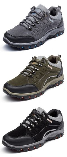 detailed pictures fe46a 9c00e Men Suede Hiking Water Resistant Shock Absorption Outdoor Casual Sneakers  Zapatos, Moda Para Homens,