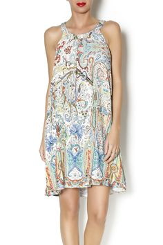 952ab0c19110 Lined high neck racer A-lined dress with brightly patterened paisley print.  Shoulder to