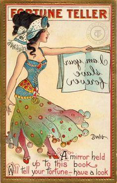 Vintage Fortune Teller - I am your slave forever Vintage Retro Circus Ad Art Poster Print Postcard ☮~ღ~*~*✿⊱  レ o √ 乇 !! ~