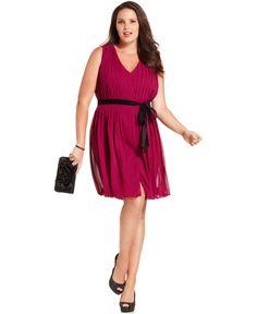 SL Fashions Plus Size Dress, Sleeveless Pleated Belted - Plus Size Dresses - Plus Sizes - Macy's