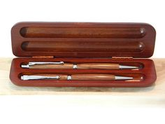 Rosewood Pen and Pencil Set With Chrome Hardware by TwistedBCustom