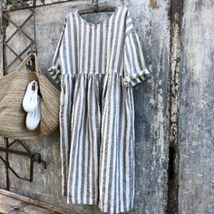 Sarah Grey and white Stripe Linen Dress Sarah Black, Fashion Over Fifty, Clothes 2019, Linen Dresses, Slip Dresses, Striped Linen, Dress First, Grey And White, Short Sleeve Dresses