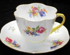 Shelley Dainty Crocus Rose Bluebell Tea Cup and Saucer   $175