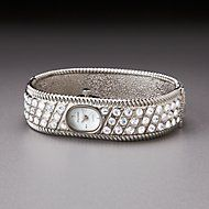 Silver-Plated Crystal Encrusted Bangle Watch for Lenox