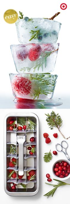 Serve up some cool and colorful holiday refreshments by adding herb-or-fruit infused ice cubes. Just place mint leaves, rosemary sprigs, fresh berries, or your choice of garnish, into your ice cube trays and freeze. You'll be the toast of the season.
