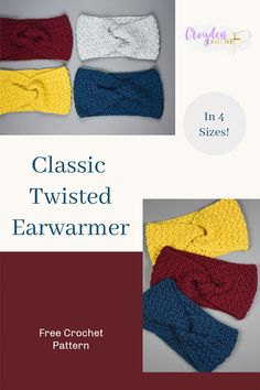 Learn to crochet this quick and easy Classic Twisted Earwarmer! A free pattern by Croyden Crochet. Features 4 different sizes, adult, teen, child and toddler! Crochet Headbands, Crochet Kids Hats, Knit Hats, Free Crochet, Crochet Patterns For Beginners, Easy Crochet Patterns, Crochet Twist, Crochet Instructions, Knit Cowl