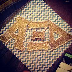 Graduation | Alpha Xi Delta | White and Blue Chevron and Gold Greek Letters | NMSU grad cap! Crafty