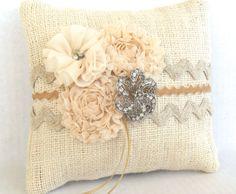 Burlap and lace wedding ring pillow, country chic wedding, rhinestone wedding on Etsy, $39.00