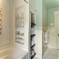 Tub-side storage and tiled walls