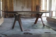Boardwalk X Base Dining Table Made from Reclaimed Ironwood from Boardwalk with Diamond Cutout at Each Base Beach Dining Room, Dining Area, Dining Tables, Family Room, Carving, Iron, Rustic, Living Room, Furniture