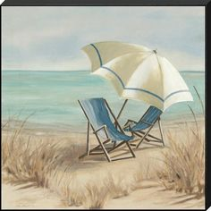 Carol Robinson Premium Thick-Wrap Canvas Wall Art Print entitled Summer Vacation II, None Beach Canvas Wall Art, Canvas Art, Beach Artwork, Big Canvas, House By The Sea, Beach Scenes, Coastal Style, Modern Coastal, Beach Pictures