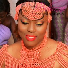 Bellezza Makeup Studio - edo, benin, bini bride makeup in coral beads