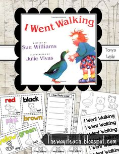 I Went Walking Book Activities. Sequencing, characters, setting, color words, and make a list activity. FREE