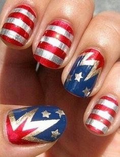 Red, white, blue nails